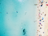 Aerial View of Sandy Beach with Tourists Swimming in Beautiful Clear Sea Water Photographic Print by paul prescott