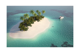 Aerial View of a Caribbean Desert Island in a Turquoise Water with a Woman Diving and a Yacht as a Photographic Print by Pablo Scapinachis