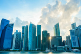 Modern Architecture of Singapore Downtown Core at Sunset Photographic Print by  joyfull