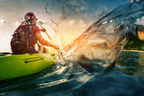 Young Lady Paddling Hard the Kayak with Lots of Splashes Photographic Print by Dudarev Mikhail
