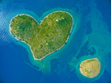 Aerial View of the Heart Shaped Galesnjak Island on the Adriatic Coast of Croatia. Photographic Print by paul prescott