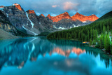 Taken at the Peak of Color during the Morning Sunrise at Moraine Lake in Banff National Park. Photographic Print by James Wheeler