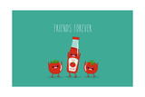 Funny Tomato Ketchup and Tomato. Friend Forever. Vector Illustration. Photographic Print by  Serbinka