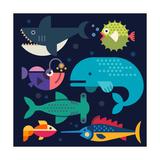 Sea Life. Big Fish: Whale, Shark, Swordfish, Fish. Vector Flat Illustrations Photographic Print by  Beresnev