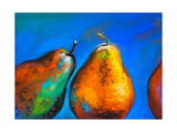 Pastel Painting on a Cardboard. Pears-Fruits on a Blue Background. Modern Art Photographic Print by Ivailo Nikolov
