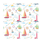 Seamless Marine Pattern with Ships, Lighthouse, Rope, Anchor, Clouds and Sun on Light Background. M Photographic Print by  Julia_Kondakov