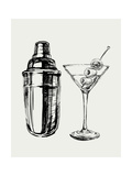 Sketch Martini Cocktails with Olives and Shaker Vector Hand Drawn Illustration Drinks Photographic Print by  mazura1989