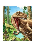 Dinosaurs Living in the Jungle Illustration Photographic Print by  helena0105