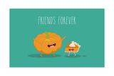 Pumpkin Pie. Pumpkin Vector Cartoon. Friends Forever. Omic Characters. Photographic Print by  Serbinka