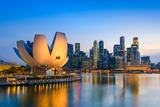 Singapore Skyline at the Marina during Twilight. Photographic Print by Sean Pavone
