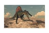 Spinosaurus Dinosaur Hunting a Snake - 3D Render Photographic Print by  Elenarts