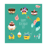 Funny Birthday Set. Birthday Cake, Invitation, Clown, Balloons, Gifts, Candles. Vector Illustration Photographic Print by  Serbinka