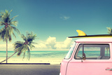 Vintage Car in the Beach with a Surfboard on the Roof Photographic Print by  jakkapan