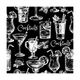 Hand Drawn Sketch Cocktails Seamless Pattern Photographic Print by  Pim