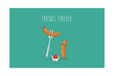 Funny Sausage on a Fork with Ketchup. Vector Illustration. Friend Forever. Photographic Print by  Serbinka