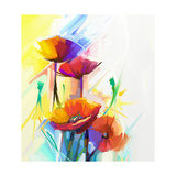 Abstract Oil Painting of Spring Flower. Still Life of Yellow, Pink and Red Poppy. Colorful Bouquet Photographic Print by  pluie_r