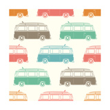 Retro, Vintage, Travel, Camper Van, with Surfing Board, Seamless Pattern. Vector Illustration. Photographic Print by Aleksandrs Bondars