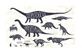 Set of Silhouettes of Dinosaurs and Fossils. Hand Drawn Vector Illustration with Decorative Letteri Photographic Print by  Gluiki