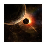 Planet with Rings at Sunrise on the Background of the Cosmos Photographic Print by  molodec