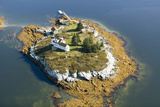 Aerial View of an Island and Lighthouse near Acadia National Park, Maine Photographic Print by Joseph Sohm