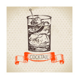 Hand Drawn Sketch Cocktail Vintage Background. Vector Illustration Photographic Print by  Pim