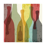 Bottles of Wine, Whiskey, Tequila, Vodka. Watercolor Silhouettes. Photographic Print by Ilya Bolotov
