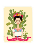 Cute Mexican Girl in an Ancient Dress. Cactus in the Background. Text Fifth of May. Vector Illustra Photographic Print by  Salvadorova