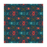 Native American Seamless Pattern with Abstract Aztec Symbols. Colored Hand Drawn Doodle Vector Back Photographic Print by  Lianella