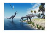 Suchomimus Dinosaurs - A Large Fish is Caught by a Suchomimus Dinosaur While a Flying Pterosaur Din Photographic Print by  Catmando