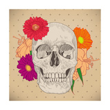 Vintage Card with Skull and Flowers on Beige Background. Day of the Death. Colorful Vector Illustra Photographic Print by  golubok
