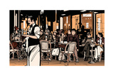 Waiter Serving Customers at Traditional Outdoor Parisian Cafe - Vector Illustration Photographic Print by  isaxar
