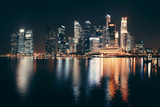Singapore Skyline at Night with Urban Buildings Photographic Print by Songquan Deng