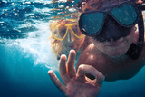 Young Couple Having Fun Underwater and Showing Ok Sign Photographic Print by Dudarev Mikhail