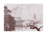 Vector Illustration of a Chinese Landscape in the Style of Old Chinese Painting Photographic Print by  isaxar