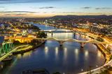 Brisbane City, Panorama Aerial Sunset View of Kurilpa Bridge, William Jolly Bridge and Merivale Bri Photographic Print by  gnoparus