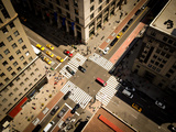 Bird's Eye View of Manhattan, Looking down at People and Yellow Taxi Cabs Going down 5Th Avenue. To Photographic Print by Heather Shimmin