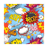 Comic Book Explosion Pattern, Vector Illustration Photographic Print by  RomanYa