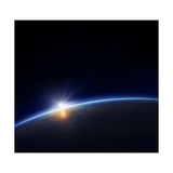 Planet Earth with Rising Sun in Space Photographic Print by Johan Swanepoel