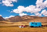 Gypsy Caravan Belongs the Family of Farmers Lived in the Mountains of Central Asia with Beautiful W Photographic Print by  Radiokafka