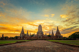 Old Temple Wat Chaiwatthanaram in Ayutthaya,Thailand Photographic Print by  SantiPhotoSS