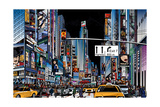 Vector Illustration of a Street in New York City at Night Photographic Print by  isaxar