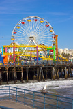 Image of a Popular Destination; the Pier at Santa Monica, Ca. with a View of the Ferris Wheel Photographic Print by  Littleny