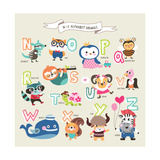 Cute Cartoon Animals Alphabet from N to Z Photographic Print by  littleWhale