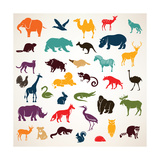 Big Set of African and European Animals Silhouettes in Cartoon Style Photographic Print by  baldyrgan