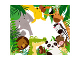 Fun Jungle Animals Border Photographic Print by  suerz