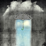 A Surreal Image of an Umbrella Checkered Black and White, Where below it There is Good Weather and Photographic Print by Valentina Photos
