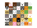 Set of Cute Simple Animal Faces Photographic Print by Olesia Misty