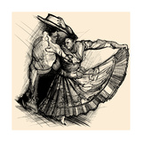 Vector Illustration of a Latino Dance Drawing Photographic Print by  isaxar