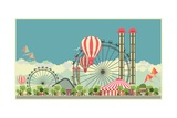 Vector Holiday Background with Carnival and Amusement Park Photographic Print by  marrishuanna