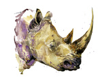 Rhinoceros Watercolor. African Animal Hand Drawn Illustration. Photographic Print by Faenkova Elena